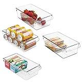 mDesign grand bac de rangement avec poignées – conteneur de stockage d'aliments – idéal pour conserver les vivres dans la cuisine, au réfrigérateur ou au congélateur – kit de 4, plastique transparent