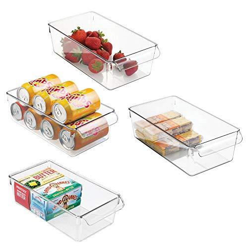 mDesign Cajas organizadoras grandes con asa - cajas plasticas ideales para cocina, en armarios o como caja para nevera - 4 piezas, transparente