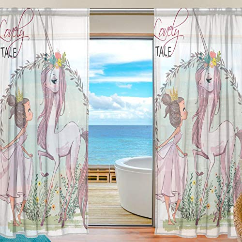 Mnsruu Fenster Gardinen Einhorn Mit Mädchen Dekoration für Wohnzimmer Schlafzimmer Kinderzimmer 55x78 Zoll, Voile Vorhänge 2 Panels