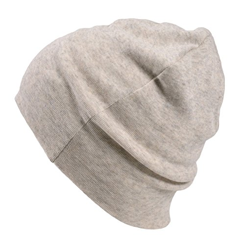 CHARM Mens Organic Cotton Beanie - Womens Slouchy Knit Hat Made in Japan Cream
