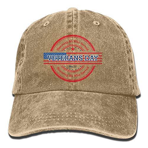 Yueha Men & Women Veterans Day Honor Classic Washed Dyed Cotton Sombrero de béisbol de Color sólido Talla única