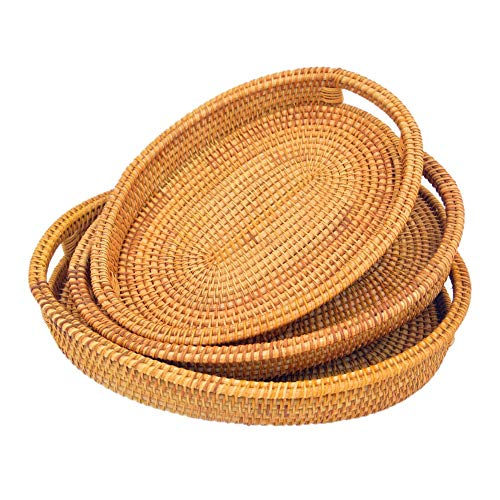 Handmade Oval Rattan Serving Tray With Handles  Rattan Platter for Dining Table  Decorative Serving Baskets  Handwoven Vintage Style Table Setting 3 Sizes Set of 3 SML