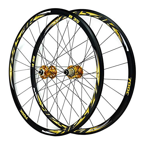 ZFF 700C Road Bike Wheelset Front Rear Wheel Cyclocross Road Disc Brake Wheel V/C Brake Double Wall Quick Release 7 8 9 10 11 Speed (Color : Gold)