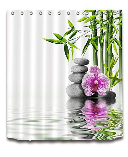 LB Spa,Bambou,orchidée,Pierre Grise/Décor Rideau de Douche pour Salle de Bain 59W x71H Résistant à l'eau Tissu Polyester Rideau de Salle de Bain