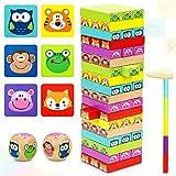 COOJOMMY Torre de Bloques Infantil, Juegos de Mesa para Niños, Jenga 4 en 1, Torre de Madera Niños con Colores y Animales, Juego de Construcción 54 Piezas