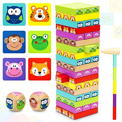 COOJOMMY Torre de Bloques Infantil, Torre de Madera Niños con Colores y Animales, Juegos de Mesa para Niños, Jenga 4 en 1, Juego de Construcción 54 Piezas