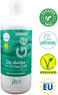 Alskin - Gel de Ducha Sin Parabenos y Sin Sulfatos   Vegano   Gel de Baño a Base de Microalgas Indicado Para Pieles Sensibles   500mL