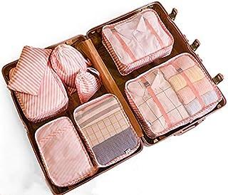 Bolsas de Viaje 8 En 1 FFlion Organizador de Equipaje Viaje (Pink(Rose))