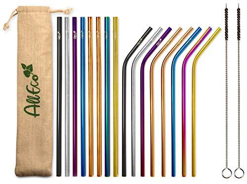 AllEco Edelstahl Strohhalm wiederverwendbar bunt 16er Set Pick & Mix + 2 Reinigungsbürsten + Eco-Beutel Metall Trinkhalm - Rosegold, Gold, schwarz, blau, lila, Regenbogen (farbig, 6mm Durchmesser)