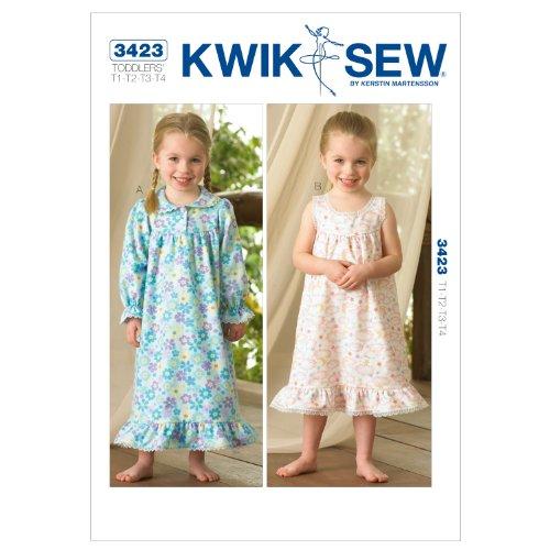 Kwik Sew K3423 Nightgowns Sewing Pattern, Size T1-T2-T3-T4
