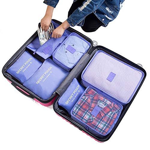 7PCS Luggage Organiser Set Compression Pouch Packing Cubes Travel Storage Bags Clothes Suitcase,Purple