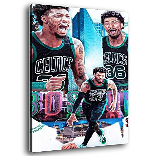 GDFG Boston Celtics Basketball Player Marcus Smart Poster Decorative Painting Canvas Wall Art Living Room Posters Bedroom Painting 12×18inch(30×45cm)