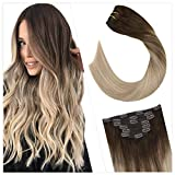 Ugeat 40cm Clip in Cabello Humano Extensiones para Toda la Cabeza Color #4/18/22 Dark Brown y Platinum Blonde Balayage Clip on Hair Extensiones 100gram