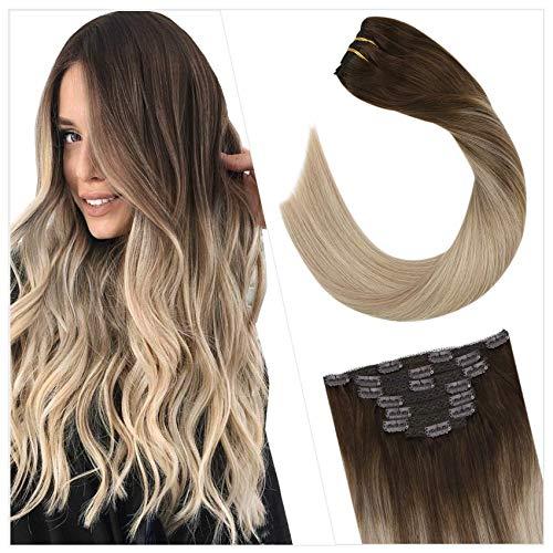 Ugeat 40cm Clip in Cabello Humano Extensiones para Toda la Cabeza Color #4/18/22 Dark Brown y Platinum Blonde Balayage Clip on Hair Extensiones 100gram