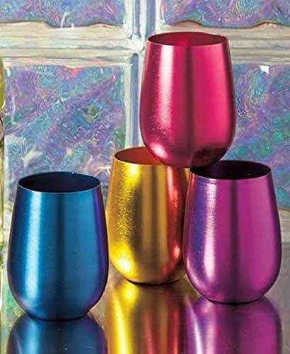 Stemless Wine Glasses Ranking TOP2 Retro Colored Popular standard Set 4 of Shatterproof