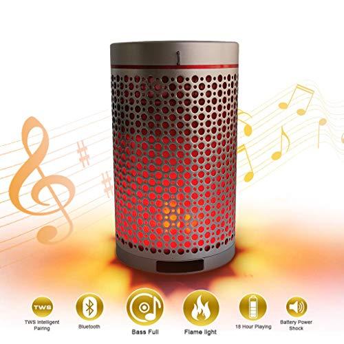 QHJ Bluet00th Lautsprecher, Tragbare Drahtlose Flammenlautsprecher Lampe Romantische Lautsprecher Schallwelle Entfesseln Sie Ihre Musik (Silber)