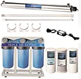 """55W UV Ultraviolet Light + Sediment & Carbon Well Water Filter Purifier System with 3/4"""" Ports > 12 GPM UV Sterilizer with Bluonics Water Filter Housing System Size 4.5"""" x 10"""" Filters"""