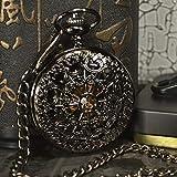 XVCHQIN Marca Antigua Collar Pocket Fob Relojes Cadena Reloj Masculino Esqueleto Reloj de Bolsillo mecánico Hombres, Negro