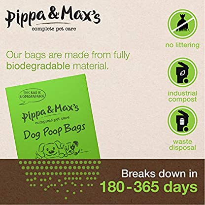 Pippa & Max Dog Poo Bags Biodegradable (300) - Extra Strong Eco Doggy Walking Poop Bags 2