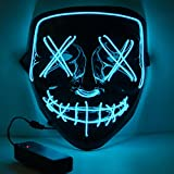 HITOP Led Mask Halloween Light up Cosplay Glowing Mask Gift for Festival Party (Blue)