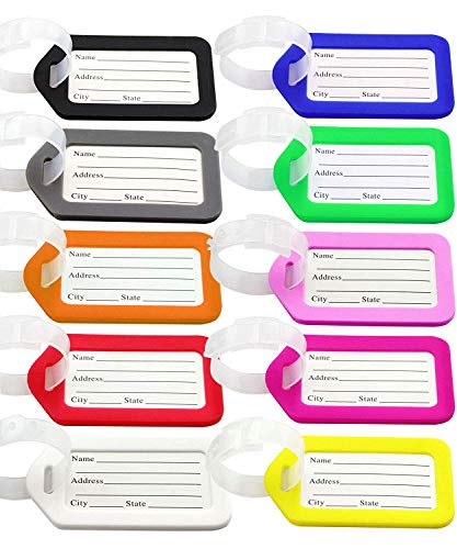 Luggage Tags, ExeQianming 10pcs Plastic Travel Luggage Baggage Handbag Tag Labels Suitcase ID Tags Labels