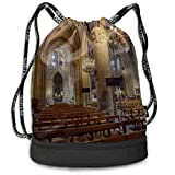 OKIJH Mochila Mochila de ocio Mochila con cordón Mochila multifuncional Bolsa de gimnasio Drawstring Gym Bag For Men Favorite Notre Dame De Paris Gym Drawstring Bags Backpack Sports String Bundle Back