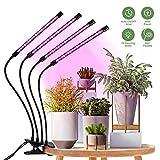 HOMPO Lampe Horticole Led pour Plantes - Lampe de Croissance Avec 4 Têtes 40W 80 LED 10 Niveaux Éclairage Réglable pour Plante Culture Intérieur 3 Modes de Chronométrage (3H/9H/12H)