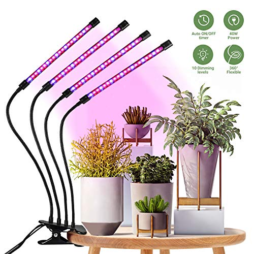 HOMPO LED Pflanzenlampe 40W Pflanzenlicht 4 Heads 80 LEDs Vollspektrum für Zimmerpflanzen mit Automatic-Timer 3H/9H/12H, 3 Arten von Modus, Dimmbar 10 Arten von Helligkeit Pflanzenlichter