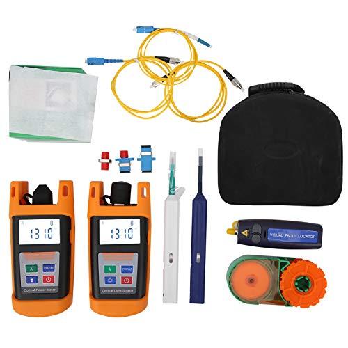 Kit de ferramentas FTTH de fibra óptica, kit portátil de medidor de energia de fibra óptica, ferramentas profissionais de fibra óptica FTTH com fonte de luz, medidor de potência, caneta de limpeza de fibra ótica, fio, caixa de armazenamento