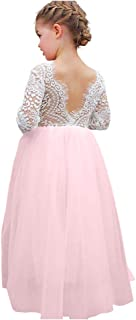 Flower Girl Dress Lace Tulle Backless A Line Long Sleeve Pageant Party Tutu Princess Maxi Dress