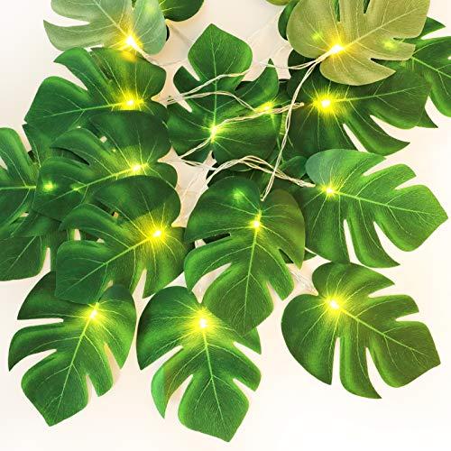Blätter Licht,JUSTDOLIFE LED Lichterkette Monstera Lichterketten 6.56ft Blätter Licht Dekoration 10-LED Lichterkette mit grünen Monstera-Blättern
