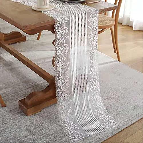JDHANNE Camino de mesa vintage de encaje de boda, camino de mesa de encaje floral blanco para decoración de mesa de recepción de boda rústica, elegante, bohemio, boda, fiesta de despedida de soltera