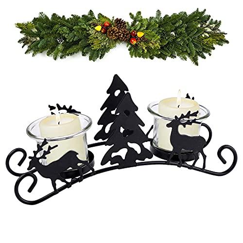 Candelabros de Navidad portavelas de metal vintage titular de vela de reno...