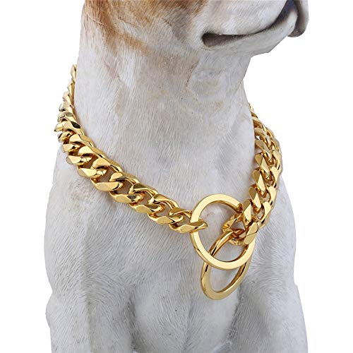 Loveshine Chain Dog Collar 18K Gold Cuban Link Dog Chain Choke Collar Metal Stainless Steel Heavy Duty Slip Dog Collars for Small, Medium, and Large Dogs. (15MM, 16')