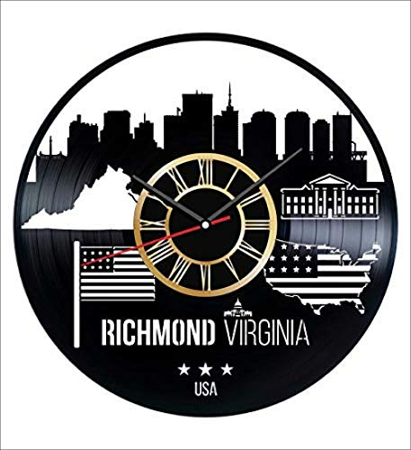 Aiyoubu-Richmond Virginia Wanduhr Vintage Rekord - Holen Sie sich einzigartige Wohn- und Bürodekor Schlafzimmer Küche Kinder Wohnzimmer