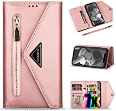iPhone 11 Pro Max Wallet Case for Women/Girl with Card Holder,Vodico Leather Pretty Folio Flip Zipper Pocket Hand Clutch Purse Folding Magnetic Full Body Shockproof Stand Cover with Strap (Rose Gold)