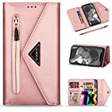 iPhone 8 Wallet Case for Women,iPhone SE 2020 Case with Card Holder,Vodico Leather Folio Flip Zipper Clutch Purse Folding Magnetic Full Body Shockproof Stand Cover with Strap for iPhone 7 (Rose Gold)