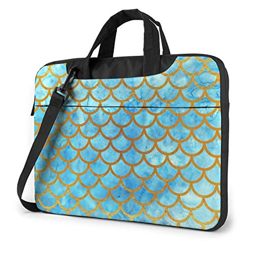 Fish Mermaid Scale Blue Shockproof Notebook Sleeve Laptop Carrying Case Handbag with Strap