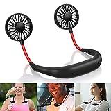 Hand Free Personal Fan USB Rechargeable, Portable Wearable Necklance Mini Fan, Dual Wind Head & 360 Degree...