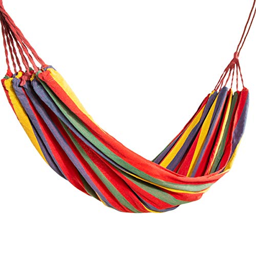SunshineFace Portable Camping Hammock, Folding Striped Hanging Chair Large Hammock for 1-2 Person