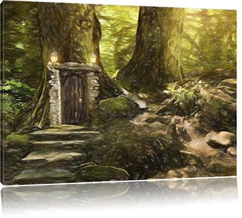 Pixxprint Geheimes Tor im Wald als Leinwandbild | Größe: 80x60 cm | Wandbild | Kunstdruck | fertig bespannt