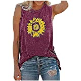 BUGI Womens Tank Tops Casual Loose Fit Plus Size Sunflower Printed Tee Shirts Sleeveless Tees for Women Casual Summer Red