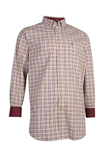 Noble Outfitters Men's Generations Fit Small Check Long Sleeve Western Shirt Brown Medium