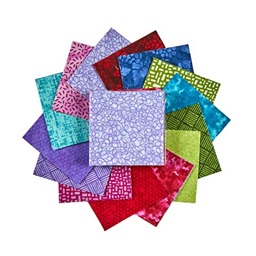 Midwest Textiles Sit 'n Sew Precut Quilters Stash 2.5'' Square 40 Piece Summer Fabric, Blender