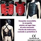mmasport Corpetto Scudo Reversibile Protezione Torace per Karate Taekwondo Arti Marziali (L (Fino a 180 cm))