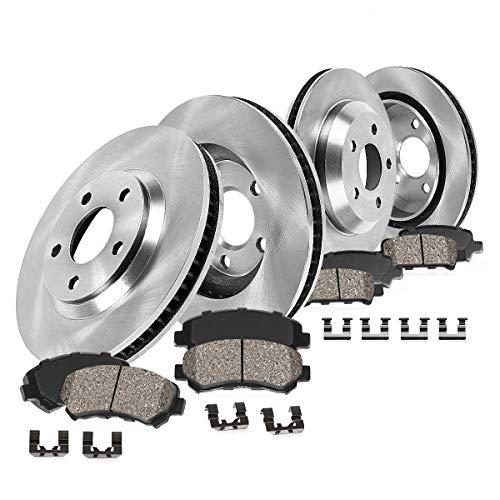 CRK14108 FRONT 336mm + REAR 352mm Premium OE 5 Lug [4] Rotors + [8] Ceramic Pads + Clips [ fit Dodge Ram 1500 Durango ]