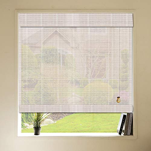 Natural Bamboo Window Blinds, Roll-Up Woven Roman Shades with Valance, Custom Light Filtering Bamboo Roller Shades for Windows, Balcony, French Doors, Patio Doors, Dining Hall (Color 11)