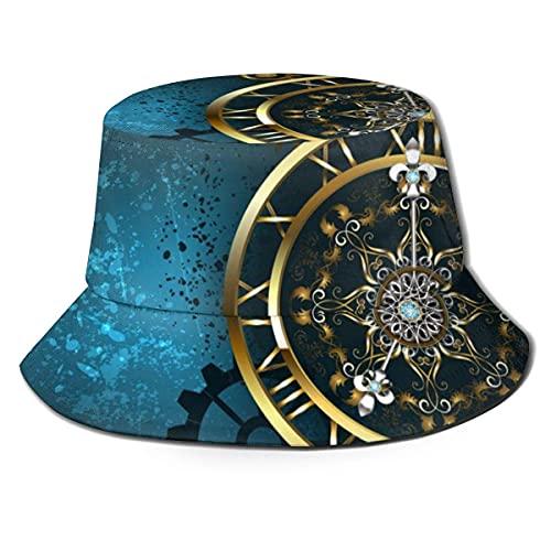 Sombrero de pescador unisex para adultos, reloj dorado en turquesa, gorra de sol, protección máxima para UVA, perfecto para pesca, jardinería, senderismo, camping, color negro, talla única