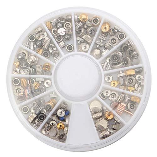 Yongse 200Stk. Uhren-Ersatzkronen Sortiertes Rohrdichtwerkzeug für Uhrmacher mit Box