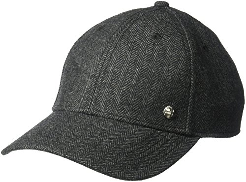 Perry Ellis Men's Donegal Herringbone Baseball Cap, Black, OSFA
